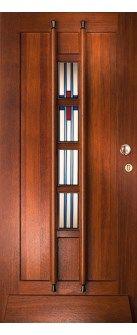 Hardhouten voordeur in de jaren 30 stijl. Afgewerkt met een transparante laag. Geïnteresseerd in deze deur + montage ervan in uw huis? Neem een kijkje op de website www.simonmaree.nl !
