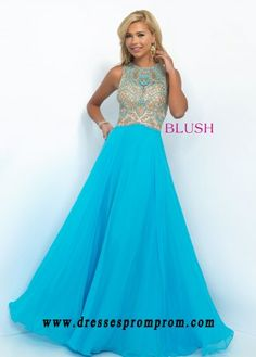 Blush Prom 11098 Ornate Beaded High Neck Prom Gown For Women Sty