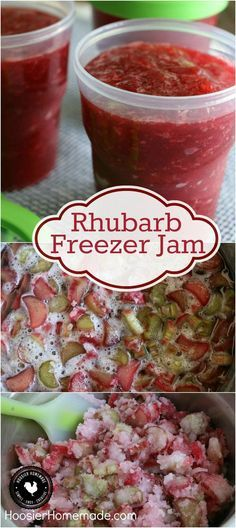 Rhubarb Freezer Jam - You are only 3 ingredients away from the BEST homemade jam you will ever make. This Rhubarb Freezer Jam goes together in a snap and is SO delicious! Rhubarb Freezer Jam, Rhubarb Jelly, Rhubarb Preserves, Pickled Rhubarb, Rhubarb Sauce, Strawberry Rhubarb Jam, Can You Freeze Rhubarb, Rhubarb Marmalade, Rhubarb Butter