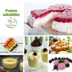 6 recetas de postres saludables: Helado de moras, Natillas de vainilla, Crema de chirimoyas, Brochetas de fruta, Tarta de queso ligera, Tarta de manzana #alimentatubienestar