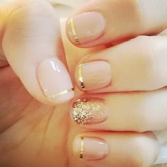 nude & gold tips. Modern twist on a French manicure. #PartyFinger
