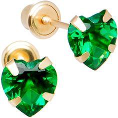 14K Yellow Gold .47 Carat CZ Heart May Birthstone Earrings
