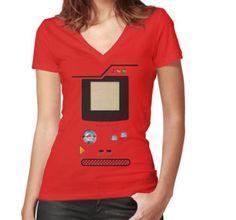 red retro pokedex Women's Fitted V-Neck T-Shirts #vneck #tshirt #tee #clothing #gameboy #gamecube #gamecontroller #nintendo #sega #playstation #ps #ps1 #ps2 #ps3 #ps4 #retro #vintage #Pokemon #pokeball #pikachu #gengar #pokedex #monster #duelmonster #cartoon