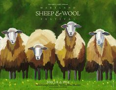 Poster for the annual Maryland Sheep and Wool Festival, held in Sheep Paintings, Animal Paintings, Sheep Art, Sheep Wool, Watercolor Animals, Watercolor Paintings, Sheep And Wool Festival, Sheep Illustration, Sheep And Lamb