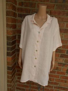 """FLAX 100% Linen Blouse Size 3G 3X Plus Women Tunic Shirt Top Bust 60"""" Pink #Flax #Blouse #Casual"""