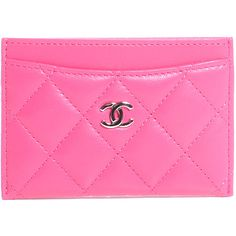a5c389ae193 CHANEL Lambskin Quilted Card Holder Fuchsia ❤ liked on Polyvore featuring  bags