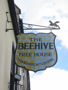 Beehive by historyanorak Pub Signs, Shop Signs, Cafe Sign, Bee Skep, I Love Bees, Town Names, British Pub, Restaurants, Bee Art