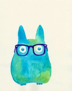 hipster totoro https://www.etsy.com/listing/130275228/hipster-totoro-watercolor?ref=shop_home_active