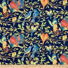 Michael Miller Valencia Bird Kiss Blue Metallic from @fabricdotcom Designed by Laura Gunn for Michael Miller, this nature inspired cotton print fabric is perfect for quilting, apparel and home decor accents. Colors include black, navy blue, turquoise, pink, brown, coral, orange, green, blue, beige, yellow and white with gold metallic accents.