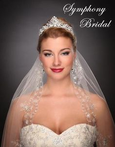 This crystal tiara adds a little bit of height to your hairstyle and glamour for your special day! Symphony Bridal - 7508CR