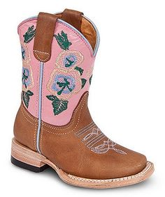 Look what I found on #zulily! Bonanza Boots Pink & Tan Canela Leather Cowboy Boot by Bonanza Boots #zulilyfinds