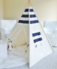 NAVY AND WHITE Stripe and Natural Canvas Play Tent by AshleyGabby