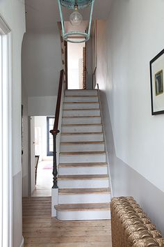 This article about painted stairs ideas, types of stairs, and how to painted stairs. Hopefully, can provide useful information for you. Victorian Terrace Hallway, Victorian Stairs, Wooden Staircases, Wooden Stairs, Stairways, Entry Stairs, House Stairs, Hallway Colours, Hallway Flooring