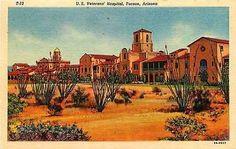 Tucson Arizona AZ 1936 Veteran's Hospital Antique Vintage Linen Postcard