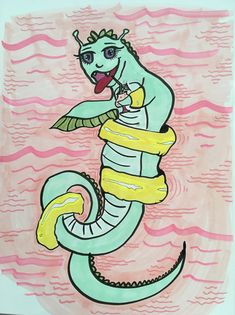 Lochness monster on a pool float 30 Day Drawing Challenge, Loch Ness Monster, Mythical Creatures, Activities, Art, Art Background, Magical Creatures, Kunst, Mythological Creatures