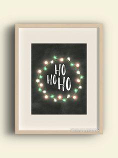 Ho ho ho sign  printable Christmas art by YourLittlePoster on Etsy