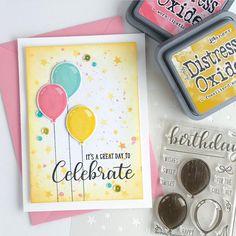 Sunny Studio Stamps: Birthday Balloon Bold Balloon Customer Card Share by Leanne Bday Cards, Kids Birthday Cards, Handmade Birthday Cards, Greeting Cards Handmade, Scrapbooking, Scrapbook Cards, Ballon Party, Diy Halloween Dekoration, Beautiful Handmade Cards
