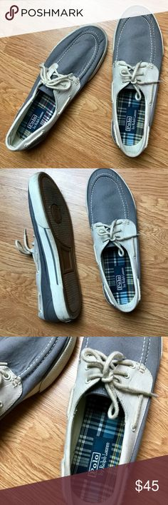 Polo Ralph Lauren Gray White Boat Shoes Loafers Gray and white boat shoes with traditional boat shoe style detail by Polo Ralph Lauren. Some wear to shoes but in great condition! Perfect paired with some jeans and a nice sweater. Men's size 11.5. Polo by Ralph Lauren Shoes Boat Shoes