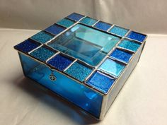 Stained Glass Jewelry Box  Blue Sparkle by PeaceLuvGlass on Etsy, $42.00