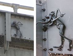 THE BAY BRIDGE TROLL  The Bay Bridge Troll was placed on the Bay Bridge during repairs after the 1989 earthquake as a symbol of protection. A group of ironworkers affixed the 18-inch sculpture without knowledge or consent from Caltrans, and it was later discovered by a maintenance worker. It is said to be created by a local Bay Area blacksmith. The troll first came to the public's attention on January 15, 1990 when the San Francisco Chronicle ran a story about the small figure of a troll…