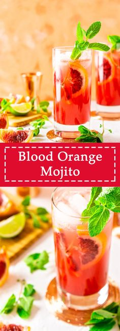 This blood orange mojito is the perfect winter cocktail to get you through these chilly months. Made with freshly squeezed blood orange juice this blood orange cocktail makes the most of winter citrus. Get this easy winter mojito recipe! Drinks Alcohol Recipes, Yummy Drinks, Yummy Food, Cold Drinks, Healthy Food, Drink Recipes, Yummy Recipes, Alcoholic Drinks, Best Cocktail Recipes