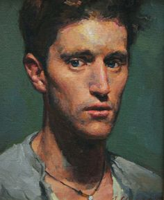 """Peter"" - Jacob Collins, oil on canvas, 1990 {contemporary figurative artist male head man face portrait painting}"