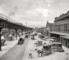 "Philadelphia circa 1908. ""Delaware Avenue, foot of Market Street."""