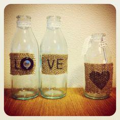 Riciclo creativo diy juta bottigliette vetro