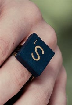 Personalized Vintage Letter Scrabble Ring