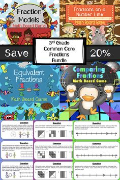 Practice recognizing fractions, comparing fractions, and identifying equivalent fractions with this bundle of four math WORD PROBLEM board games. This bundle covers all Common Core 3rd grade fraction standards (3.NF.A.1, 3.NF.A.2, and 3.NF.A.3)! For a limited time, this bundle is 20% off the individual prices of these math board games.
