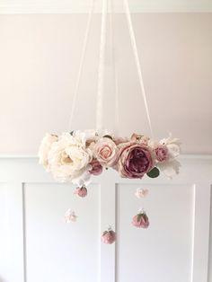 Mauve & blush pépinière fleur mobile lit mobile par RosyRilli