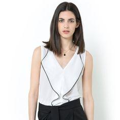 T-shirt sans manches bi-matière LAURA CLEMENT