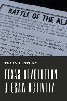 The jigsaw method of teaching allows students to be the experts and teach one another all about the Battle of the Texas Revolution by breaking the information down into chunks. Jigsaw groups take these chunks and teach it to the class in their own way, giving them ownership. This Texas Revolution jigsaw activity comes with passage chunks, three styles of note-taking sheets, presentation ideas, and an assessment over all the content. #TeachingInTheFastLane #TexasRevolution #TexasHistory Cooperative Learning Strategies, Teaching Resources, Back To School Activities, School Ideas, Texas Revolution, Texas Teacher, Back To School Organization, Catholic Religion, Texas History