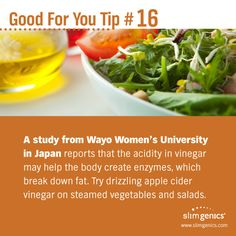 Here's one good reason why apple cider vinegar is recommended on the SlimGenics plan. It's Good for You! www.slimgenics.com