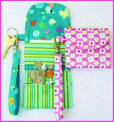 "On the go? Can't beat this wristlet wallet and key fob to keep cash and keys close at hand!  They're a cinch to make and fun to give as gifts! Finished size 3.75"" (excluding key ring)."