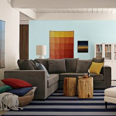 Walton Sectional | west elm - that hanging quilt thing = inspiration for a really cool ombre canvas using paint chips!