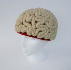 Brainy-beanie made from crochet-knots! http://www.etsy.com/listing/109564346/the-brain-beanie-crochet-pattern more cerebral images here https://www.google.com/search?q=crochet+brain+beanie+pattern&hl=en&tbm=isch&tbo=u&source=univ&sa=X&ei=FE-8UuPCJcrHsATBxYC4BQ&ved=0CC4QsAQ and ▶ AussieGooday! video: http://www.youtube.com/watch?v=9r_4UgYR2wk