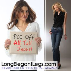 """Tired of """"tall"""" jeans that are anything but? Try these - 36"""" to 39"""" inseams, flawless fit no matter what your size, and currently $20 off: http://www.longelegantlegs.com/jeans"""