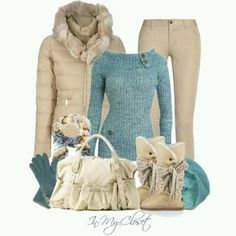 I love the sweater style and color, especially with the neutral pants and boots. Don't like the jacket or purse though.