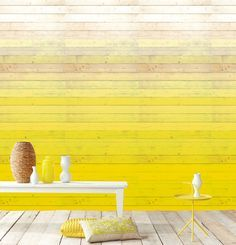 Home design ideas / Home inspirations |  A great solution for outdoors: yellow ombre painted wood .