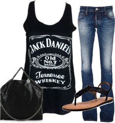 Black jack daniels tank, great for a country concert - I'm wearing this to the Motley Crue concert next month. Estilo Fashion, Look Fashion, Fashion Outfits, Womens Fashion, Jack Black, Marchesa, Jack Daniels Tank, Lilly Pulitzer, Style Personnel