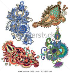 original hand draw line art ornate flower design. Ukrainian traditional style. Vector set by karakotsya, via ShutterStock
