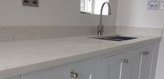 The handmade kitchen we recently fitted in Bidborough is now finished and has been hand paintedusing Farrow & Ball Dimpse paint colour. The worktops are Cimstone OlympusQuartz. To discuss your dream kitchen or project, please get in touch.