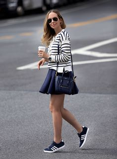 OOTD: Brooklyn Blonde Puts a Sporty Spin on Nautical Stripes #RueNow