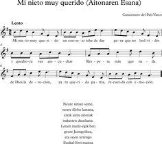 Mi Nieto muy Querido. Cancionero del País Vasco Musical, Piano, Sheet Music, Folklore, World, Music Class, Grandchildren, Te Quiero, Songs
