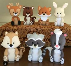 Cute Woodland Animals to display on food table then the mom-to-be can put in nursery.Image may contain: 1 person Fondant Cake Toppers, Cupcake Toppers, Fondant Figures, Fondant Cupcakes, Woodland Cake, Woodland Party, Polymer Clay Creations, Polymer Clay Crafts, Party Set