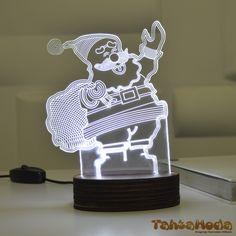 Tahtamoda 3D 3 Boyutlu Dekoratif Led Lamba Noel Baba - tht3d7