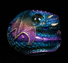 colors and textures dragon curled | Curled Dragon - Rainbow | Windstone Editions #tattoo #inspiration