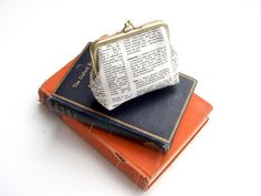 Bookish dictionary coin purse by peppermintdesigns on Etsy, $24.00