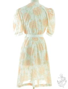 Vintage Clothing | Vintage 3/4 Length Sleeve Dress White With A Revere Front Jackie-O California 1970s